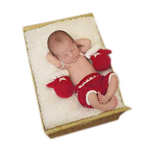 Newborn Monthly Baby Photo Props Boxing Champion Gloves with Pants Set for Boys Girls Photography (Red)