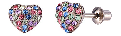 18K Gold Plated Screw Back Crystal Domed Heart Hypoallergenic Stud Earrings for Kids, Baby, Toddler, Little Girls with Surgical Steel Post for Ultra Sensitive Ears with Secure Safety Screwback (Crystal Heart Post Earrings)