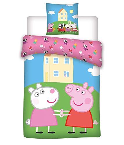 BrandMac ApS Peppa Pig Wende-Bettwäsche-Set 2-teilig 100% Baumwolle Bettbezug 135x200 Kissenbezug 80x80 deutsche Standardgröße Peppa Wutz