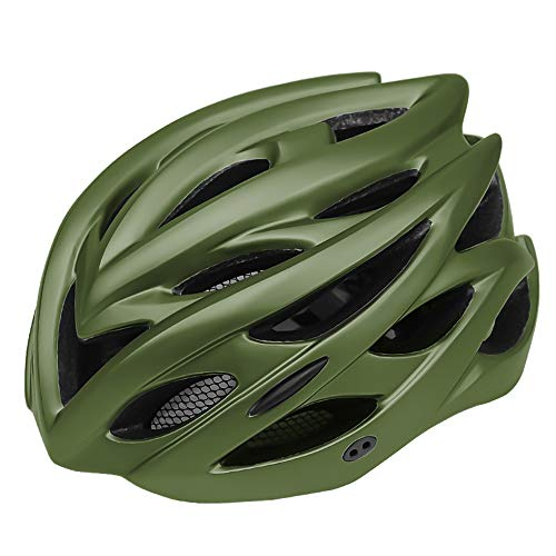 Yalawa Bike Helmets for Women Men Urban Commuter Cycling Bicycle Helmet Lightweight Safety Taillight Urban Commuter CPSC&CE Certified Adjustable Size (11-8 Inches), Dark Green