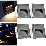 Arotelicht Juego de 4, 3 W LED Aplique de pared empotrable (para escaleras Luz Iluminación Lámpara, aluminio, 230 V Blanco Cálido IP65 impermeable gris