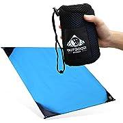 Outdoor Panda NEU 200x145cm XXL Pocket Blanket Große & ultraleichte Camping Picknickdecke/Stranddecke aus wasserfestem Nylon mit kompaktem Packmaß in Blau | Perfekt für Wandern und Trekking