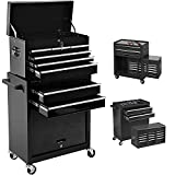 Rolling Tool Cabinet, 8 Drawers High Capacity Tool Chest with Wheels, Mobile Lockable Toolbox on Wheels, Removable Tool Storage Cabinet with Drawers and Locking System for Warehouse, Garage (Black)