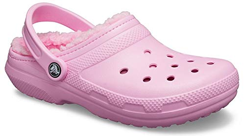 Crocs Men's and Women's Classic Lined Clog   Warm and Fuzzy Slippers, Carnation/Carnation