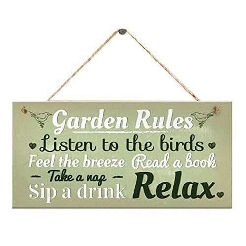 SKR Gartenregeln, grünes Holzschild, Wandschild, zum Aufhängen, Heimdekoration, Hausschild, Gartenhaus mit Schuppen, Freundschaftsgeschenk
