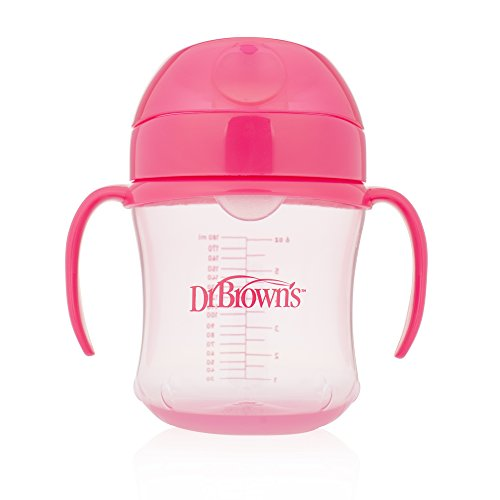 Dr. Brown's Taza de transición suave con boquilla, 6 onzas (6 m+), rosa, individual