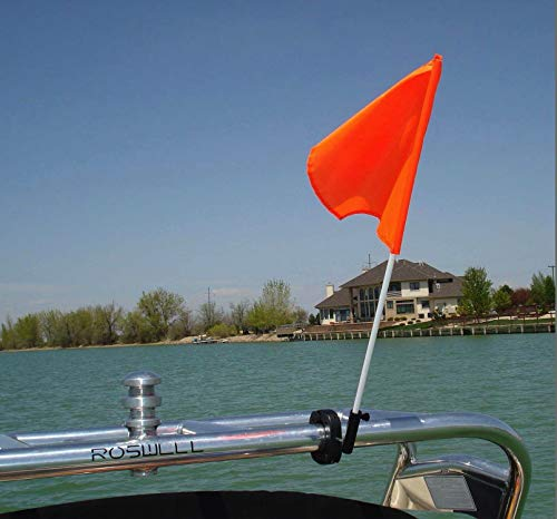 Flag Buddy Tower Mounted Rotating Skier Down Flag Holder with Free Floating Orange Safety Flag