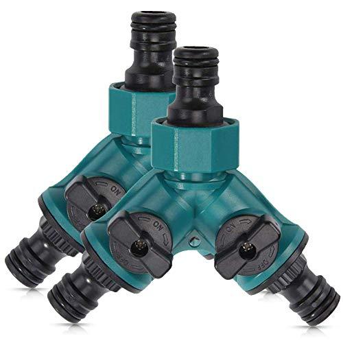 SUNSK 2-Wege-Ventil mit Absperrventil für Gartenschläuche Schlauchkupplung Doppel Anschluss Gartenschlauch Wasserverteiler für Wasserhahn 3/4 Zoll Hose Connector 2 Stücke