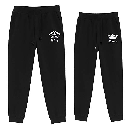 For Love King Queen Hose Pärchen Set Couple Pants Damen Herren Sweatpant Casual Sports Pants Pocketed Sweatpants 1 Stück (Schwarz-Queen, 175)