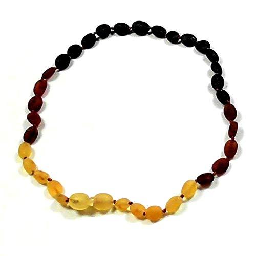 Collar auténtico ámbar báltico con perlas de forma de oliva 32-33 cm, cierre de clip.