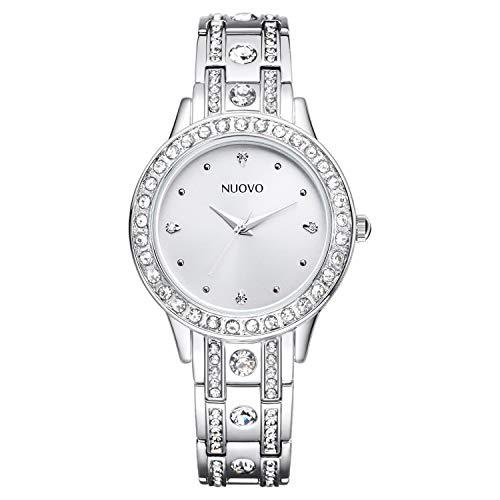 NUOVO Damenuhr Quarzuhren mit Analoganzeige Armband Silber Luxuriöser Stil Runde Form mit Glänzender Kristall Wasserdichte Uhr