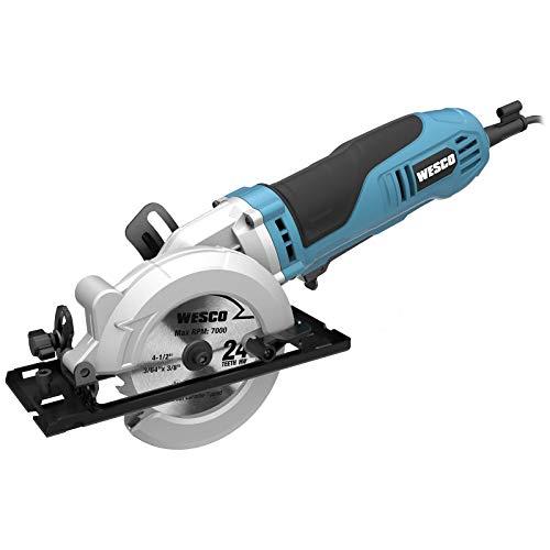 "Mini Circular Saw, WESCO 4-1/2"" 6.0A Compact Circular Saw 5200 RPM Max. Cutting Depth 1-11/16""(90°), 1-1/8""(45°)with 2 TCT Blades and 1 Diamond Blade /WS3454U"