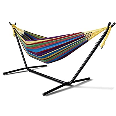 MINGLIFE Patio Yard and Beach Outdoor Double Hammock with Space Saving Steel Stand Up to 450 pounds Includes Portable Carrying Case (Tropical)