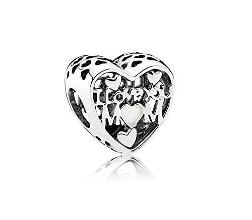MiniJewelry - Abalorio para Pulsera, diseño de corazón con Texto en inglés I Love You Mom, Plata de Ley 925