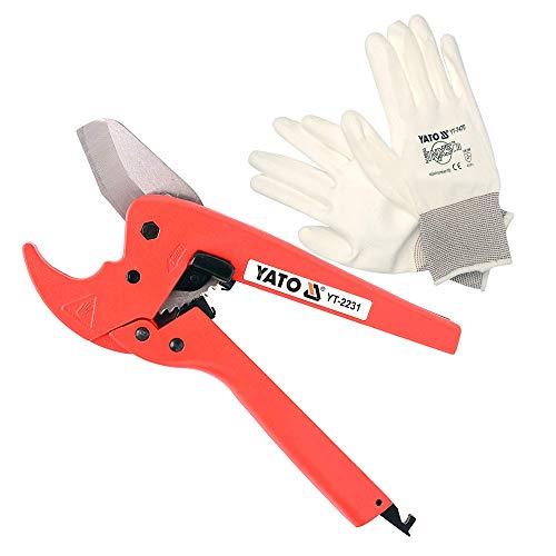 Cortatubos de PVC YATO   Cortatubos de plástico máx. 42 mm de aluminio y acero inoxidable + guantes de trabajo YATO de nailon y poliuretano talla 10 blancos
