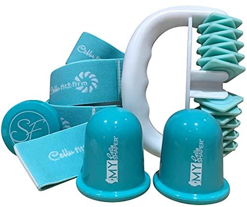 My Body et Cellu Shaper Kit 2 Minceur Anti Cellulite avec son Roller, sa Ventouse et sa Bande Elastique dans un joli Coffret. Turquoise