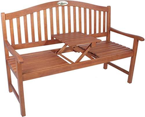 Gartenbank mit Gravur von Ihrem Wunschtext mit Tisch in der Bank Farbe Natur - formschöne personalisierte gravierte Eukalyptus Holzbank