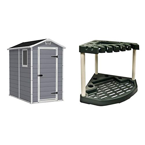 KETER Manor 4x6 Resin Outdoor Storage Shed Kit-Perfect to Store Patio Furniture, Garden Tools Bike Accessories, Beach Chairs and Lawn Mower, Grey & White & Plano MOLDING 9123-02 Corner Tool Rack