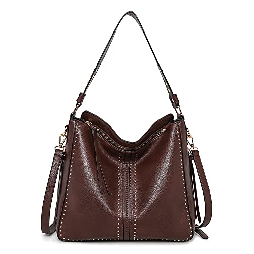 Montana West Hobo Purses Studded Ladies Large PU Leather Tote Bags With Concealed Carry PurseMWC-1001CF