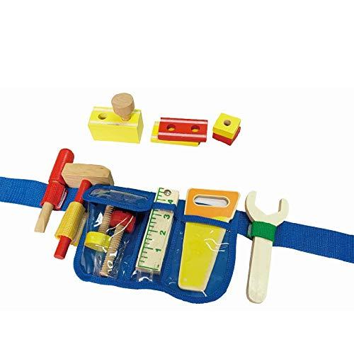 B&Julian® Werkzeuggürtel Kinder Holz Werkzeug Handwerker Set für Kinder 13tlg. Spielwerkzeug Zubehör Rollenspiel