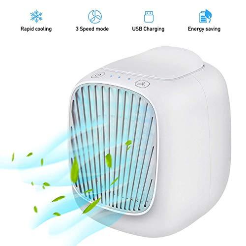2020 【 4 en 1 enfriador de aire】 Ionizador TACT y humidificador de aire, pequeño portátil, escritorio, pulverizador refrigerante, mini pulverizador humidificador refrigerante creativo, regalo blanco