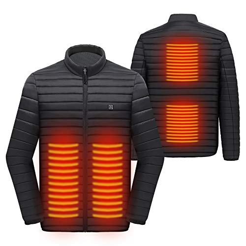 Eléctrica Chaqueta Calentado con 3 Niveles de Calefacción y 4 Zona de Calefacción, Chaqueta Abrigada con Interfaz USB, Hombres Mujeres Abrigos de Invierno para Senderismo Esquí Pesca Montar Moto (XL)