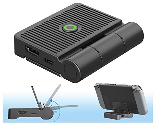 Base de TV Portátil, ElecGear Soporte de Carga Plegable para Nintendo Switch, HDMI 1080P Adaptador Estación de Acoplamiento de Video, Dock de Reemplazo con USB-C PD Cargador