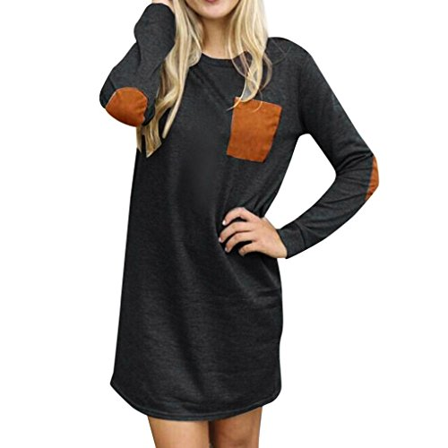 Women Dress,Neartime Winter Casual Tunic Dresses Loose Short Mini Dress (S, Black)