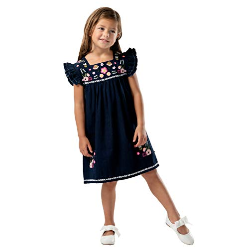 Cherry Crumble California Kids Weave Dress square Cap Sleeve Solid...