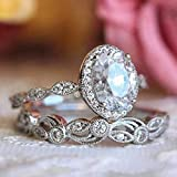 WOVYNC Anillo de Boda Lujoso de Moda para Mujer Twist Twist Classical Cubic Pigeon Egg Zircon Girl Crystals Jewelry Couple Rings Set 8