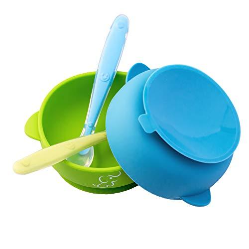 Set de 2 Platos Hondos/Bowl/Tazón y 2 Cucharas Papubaby de Silicón 100% grado alimenticio con base de succión Libre de BPA (Azul/Vrde)