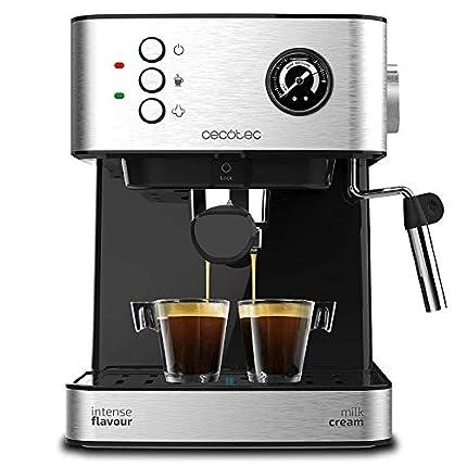 Cecotec Cafetera Express Power Espresso Professionale. 850 W, 20 Bares, Manómetro, Depósito de 1,5L, Brazo Doble Salida, Vaporizador, Superficie Calientatazas, Acabados en Acero Inoxidable