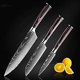 Cocinas Cuchillo de Chef 7CR17 High Carbon Acero Inoxidable Serie Japonesa Damasco Patrón de láser Cocinero 8-en Cuchillo de Cocina (Color : 3 Pcs Value Set)