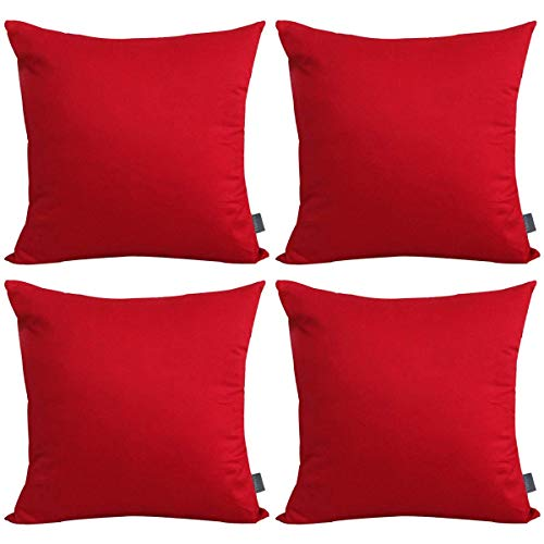 4-Pack Cotton Solid Decorative Throw Pillow Case Square Cushion Cover Pillowcase (Cover Only,No Insert)(18x18 inch/ 45x45cm,Red)