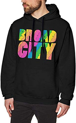 Men's Broad City Long Sleeve Hooded Sweat Shirt Pullover,As Pic,X-L