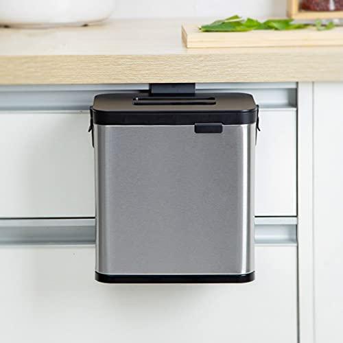 Papelera de cocina pequeña 4 l con tapas para colgar en el armario de la cocina, el dormitorio, la oficina de acero inoxidable