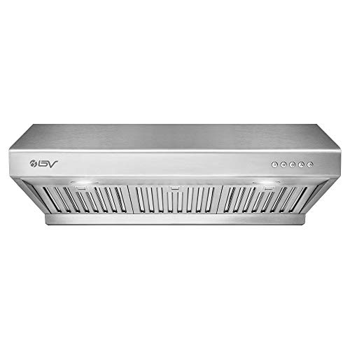 BV Range Hood - 30 Inch 750 CFM Under Cabinet Stainless Steel Kitchen Range Hoods, Dishwasher Safe Baffle Filters w/LED Lights, Ducted Kitchen Exhaust Fan Hood (30 Inch - 750 CFM/RH-01)