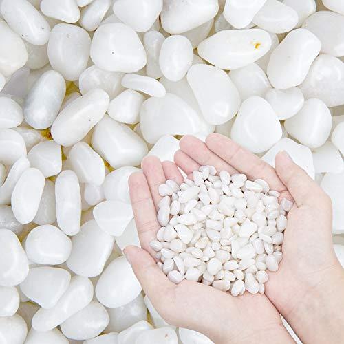 OUPENG Kieselsteine, poliert, weiß, 900 ml, klein, dekorativ, Fluss-Steine, 900 g