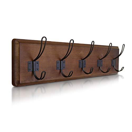 Rustic Coat Rack - Wall Mounted Wooden 24' Entryway Coat Hooks - 5 Rustic Hooks, Solid Pine Wood....