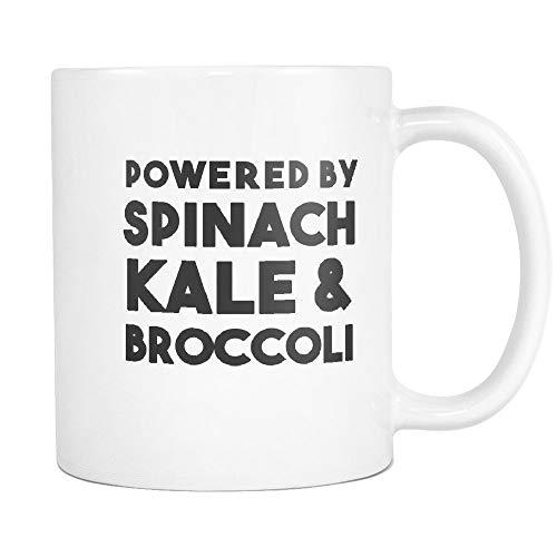 N\A Lustige vegetarische Tassen, um sie zum Lachen zu bringen Veganer Witz Geschenk 11 Unzen Kaffeetasse (11 Unzen, angetrieben von Spinat, Grünkohl & Brokkoli)