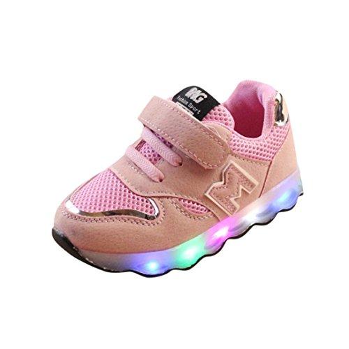 FNKDOR Kinder Baby Schuhe mit Licht Led Leuchtende Blinkende Sneaker 20-29 Turnschuhe Unisex(23 EU(24CN) 14.5CM,Pink)