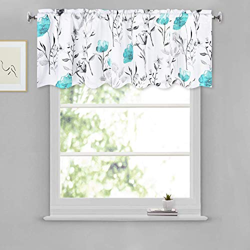Curtains Flower Watercolor Window Drapes Teal Valance 52 × 18 Inches Flower and Leaves Rod Pocket Valances for Kitchen Bathroom Living Room Bedroom Nursery 1 Panel