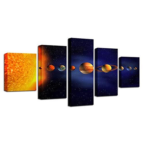 Tklnc Fünf Leinwandbilder Art Deco Wohnzimmer oder Schlafzimmer 5 Universumsbilder Planeten Landschaftsmalerei-16x24/32/40inchWithoutframe
