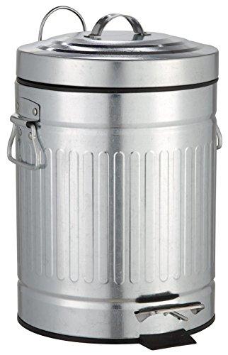 SANWOOD Cubo de Basura 1008210 Oscar con Pedal y Descenso automático, Cubo de Basura para el baño, 5L, diseño Retro, Metal, Plateado, 26x 20,5x 30,8cm.