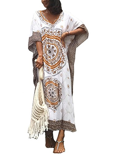 FSMO Damen-Kimono, übergroß, Maxi, Ethno-Print, Bikini-Überwurf, Strand, Kaftan-Kleid Gr. One Size