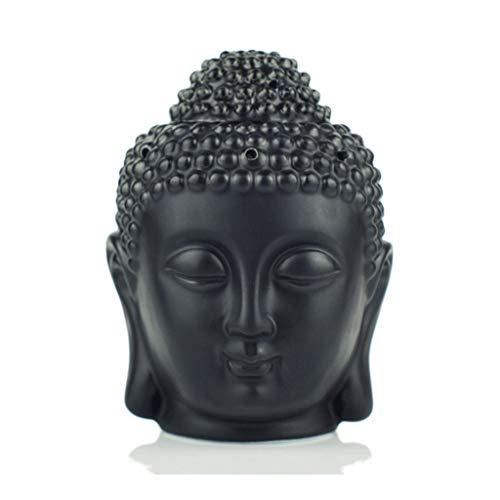 Lámpara de aromaterapia Horno Incienso Quemadores de aceite de gran capacidad Quemador de incienso Vela Cerámica Vintage Buddha Head Incienso ( Color : Black , tamaño : 5.51*2.95 inches )