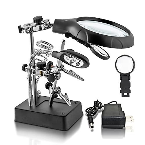 Desktop LED Lighted Magnifying Glass Soldering Station, mlogiroa Adjustable Helping Hands Magnifier 2.5X 7.5X 10X Magnifying Glass Magnifier Station with LED Light and Alligator Clips for Soldering