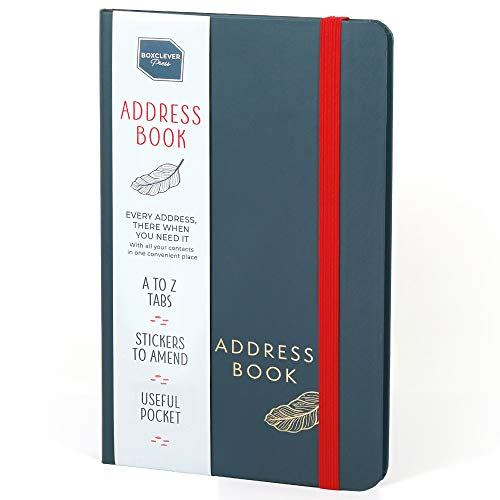 Boxclever Press Address Book. Address Book with Tabs & an Amazing 432 Entry Spaces! Attractive Address Book with Alphabetical Tabs, Handy Pocket & Change of Address Labels. 5 x 8 ins
