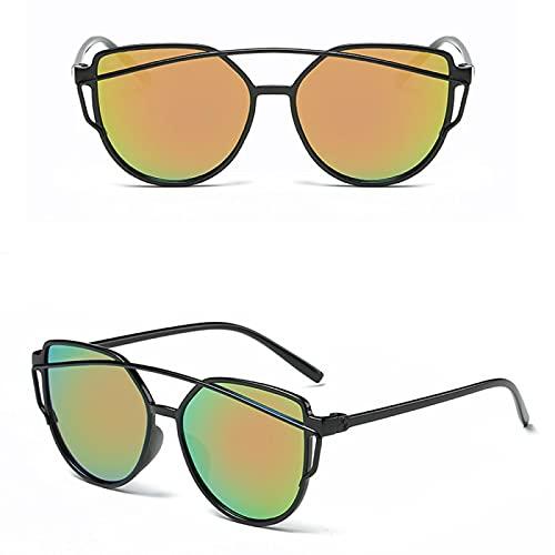 Sunglasses Gafas de Sol de Moda Gafas De Sol De Ojo De Gato para Mujer, Diseñador De Moda, Espejo De Revestimiento, Gafa