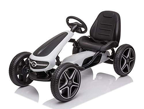 Kart a pedale Mercedes Benz COULEUR BLACNHE pour enfant de 3 4 5 6 7 et 8 ans Go Kart à pédales enfant 3 à 8 ans licencé Mercedes-Benz
